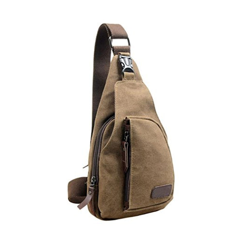 AMA(TM) Men Canvas Outdoor Chest Pack Shoulder Bag Sling Satchel Small Backpack (Coffee)
