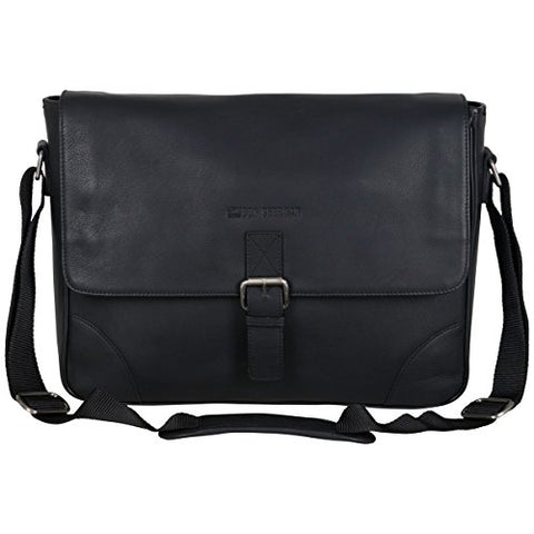 "Ben Sherman Leather Single Compartment 15"" Laptop Messenger Bag (RFID), Black"