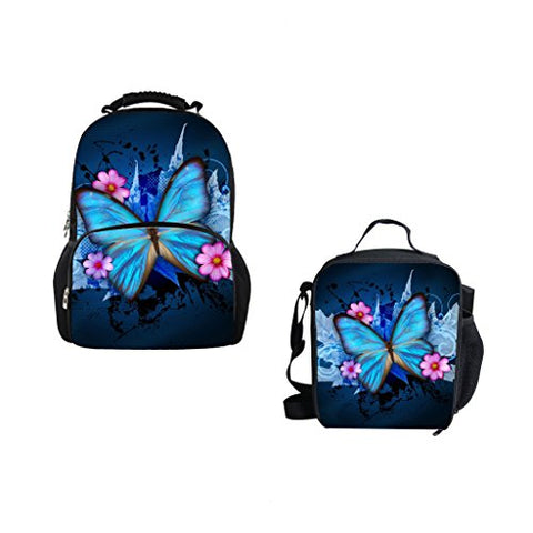 Bigcardesigns 3D Blue Butterfly School Bag Backpack And Lunch Bag Set