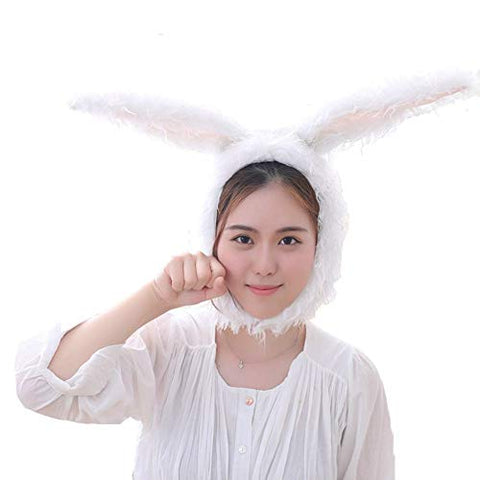 BOBILIKE Plush Fun Bunny Ears Hood Women Costume Hats Warm, Soft and Cozy, White2