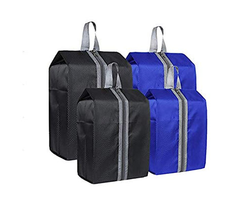 Zmart Portable Travel Shoe Bags with Zipper for Men Waterproof Nylon Traveling Shoe Storage Organizer Packing Cubes 4 Pack