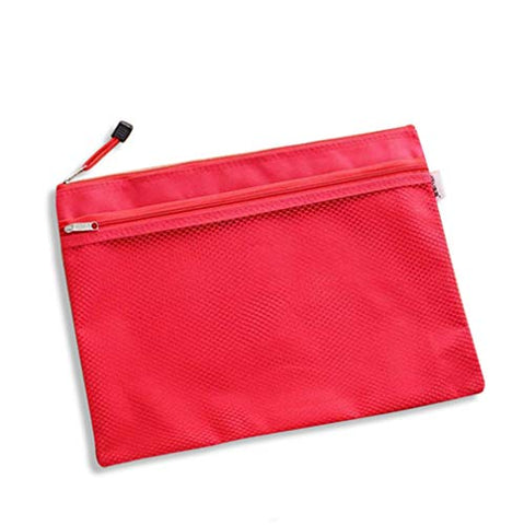 GADIEMKENSD A5 Zip Bags Mesh File Pockets with Waterproof Canvas Pouch Fit for Offices Stationery