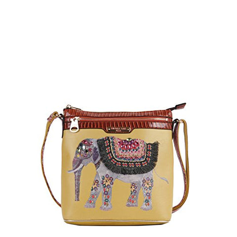 Nicole Lee Aaliyah Majestic Rhinestone Elephant Cross Body Bag, Yellow, One Size