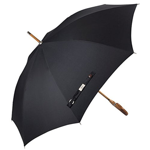 Balios Prestige Walking Umbrella, Real Wood Handle & Bamboo Shaft, Auto Open, Windproof Designed in