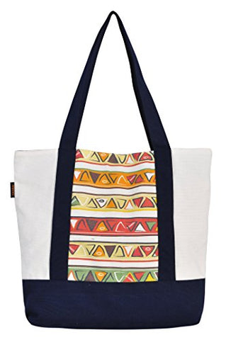 Vietsbay'S Women Africa Design 2Print Heavyweight White Canvas Handbags
