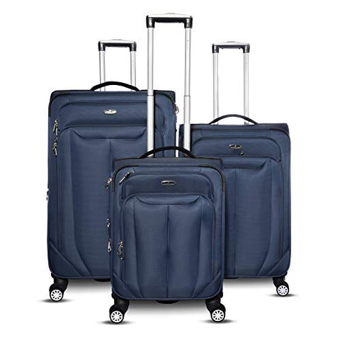 Gabbiano Bellagio Collection 3 Piece Softside Spinner Luggage Set (Navy Blue)