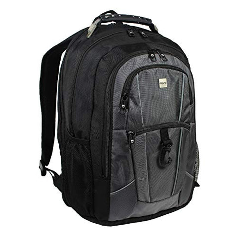 "Dejuno Commuter Backpack Checkpoint-Friendly 15.6"" Laptop Pocket - Black Grey, One Size"