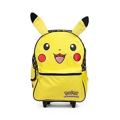 "Pokemon Pikachu 16"" inch Yellow Rolling Backpack Luggage with Plush Ears"