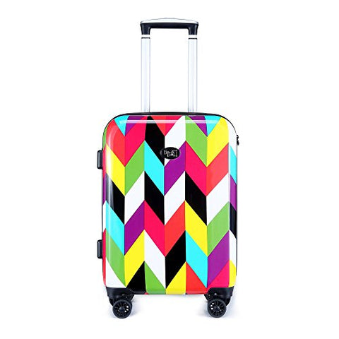 "French Bull 20"" Hard Case Carry On Spinner Luggage - Women, Girls, Designer, Lightweight, TSA Lock - Ziggy"