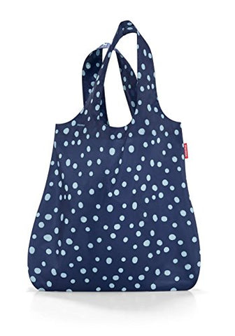 reisenthel Mini Maxi Shopper, Foldable Reusable Shopping Tote with Elastic Band, Spots Navy