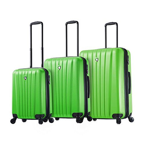 Mia Toro Italy Magari Hardside Spinner Luggage 3pc Set, Lime