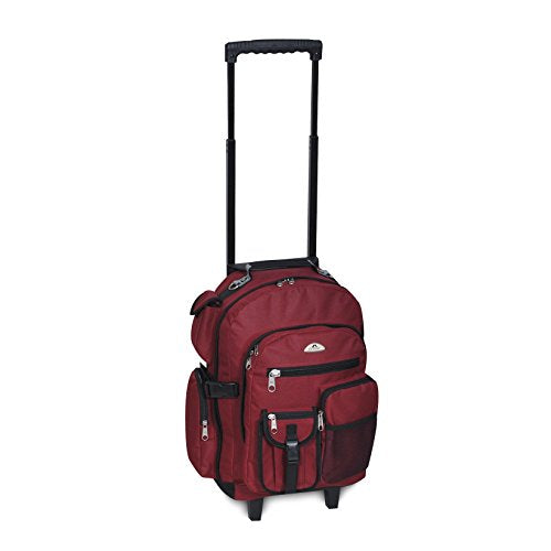 Everest Deluxe Wheeled Backpack, Burgundy