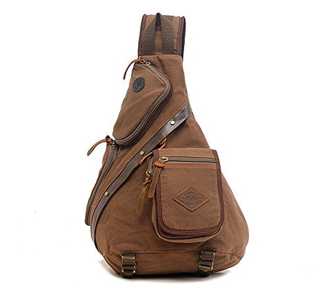 Men's Vintage Canvas Shoulder Backpack Chest Pack Sling Bag Crossbody Messenger Rucksack - Coffee