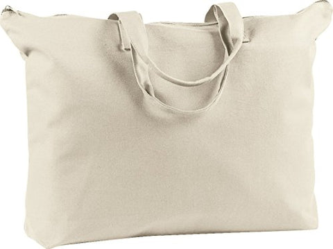Zuzify Heavy Duty Canvas Zippered Book Tote Bag. Td0757 Os Natural