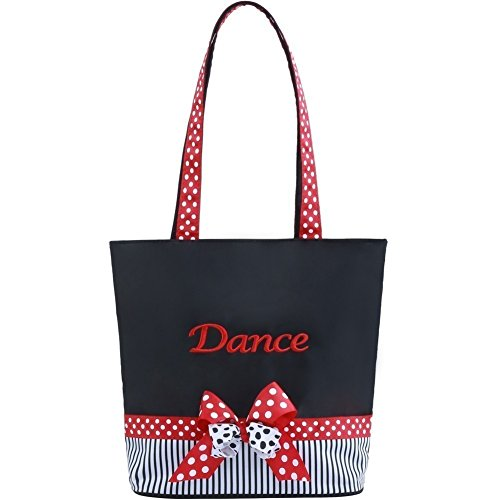 "Sassi Designs Red White ""Dance"" Grosgrain Ribbon Trim Mindy Small Dance Tote"