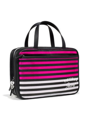Victorias Secret Striped Hanging Travel Lingerie Organizer Bag Black Pink Silver