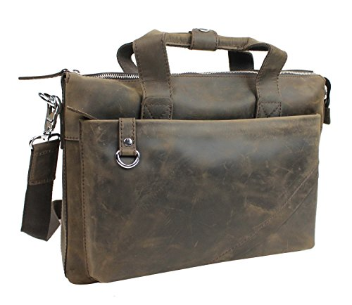 "Vagabond Traveler 15"" Cowhide Oil Tanned Leather Messenger Bag L12. Distress"