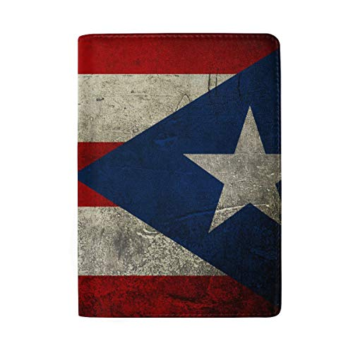 Unisex Leather Passport Cover Holder, Puerto Rico Flag Passport Case, Anti-theft Waterproof