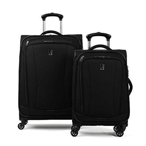 Travelpro TourGo Carry on and Checked Medium Spinner Luggage Set, Black
