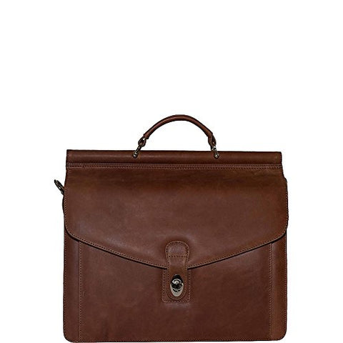 Vicenzo Leather Rushmore Full Grain Leather Briefcase (Brown)