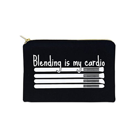 Blending Is My Cardio 12 oz Cosmetic Makeup Cotton Canvas Bag - (Black Canvas)