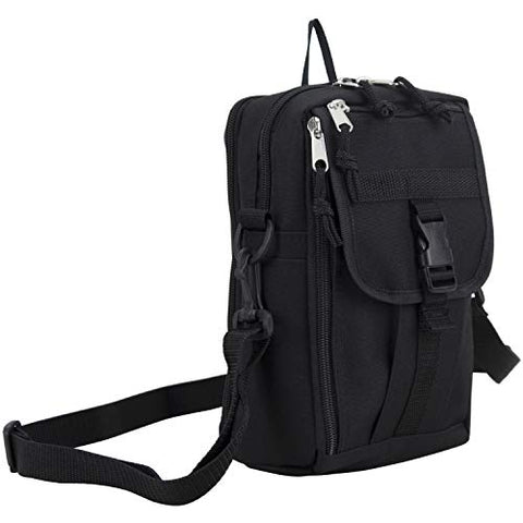 Eastsport Men's Multifunctional Messenger Bag, Over Shoulder, Crossbody for Everyday Use, Black