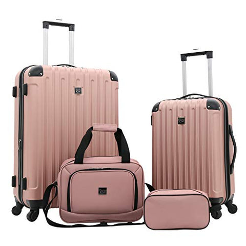 Travelers Club Luggage 4 Piece Luggage Set, Rose Gold, 4 PC