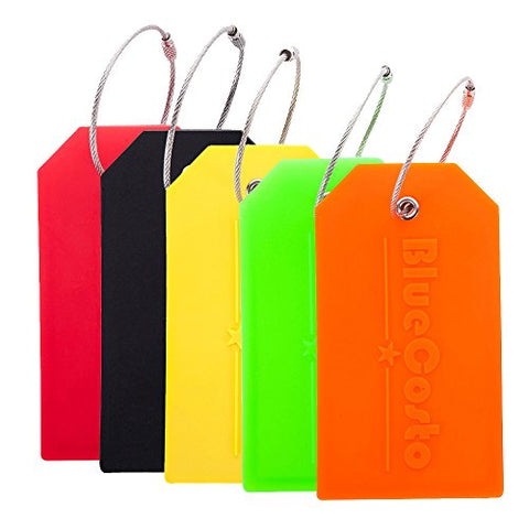 BlueCosto 5x Luggage Tags Suitcase Tag Travel Bag Labels w/Privacy Cover - Multicolor