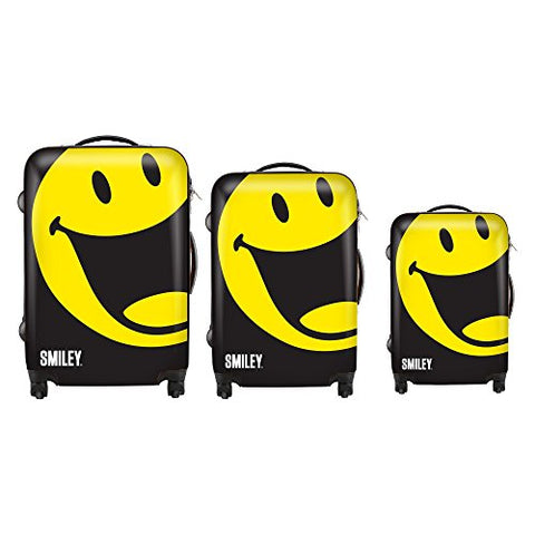 Smiley World Happy 3-Piece Luggage Set by ATM Luggage (One Size, Black)