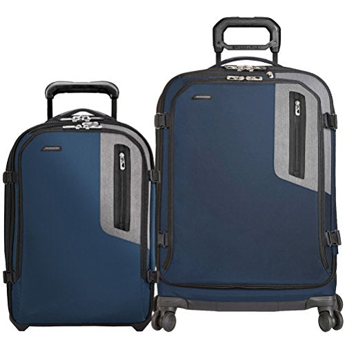 Briggs & Riley BRX Explore 2 Piece Set Expandable Commuter Upright | Expandable Medium Spinner (One Size, Blue)