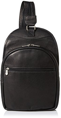 Piel Leather Slim Adventurer Sling Bag/Backpack, Black