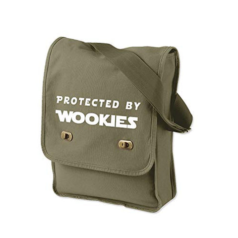 Funny Protected by Wookies Star Wars Inspired 14 oz. Authentic Pigment-Dyed Canvas Field Bag Tote