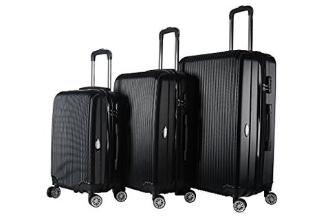 BRIO Luggage 3-piece Expandable Hardside Spinner Luggage Set Black