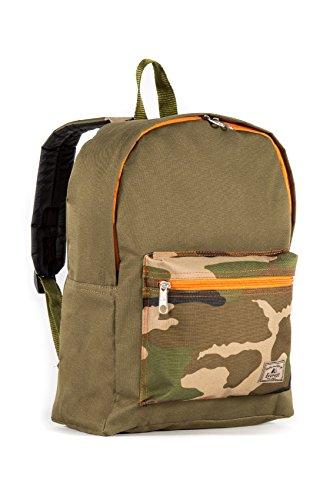 Everest Basic Color Block Backpack, Olive/Camo, One Size