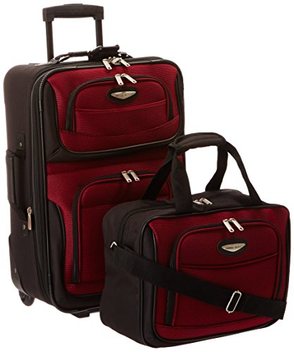 Travelers Choice Travel Select Amsterdam Two Piece Carry-On Luggage Set, Burgundy