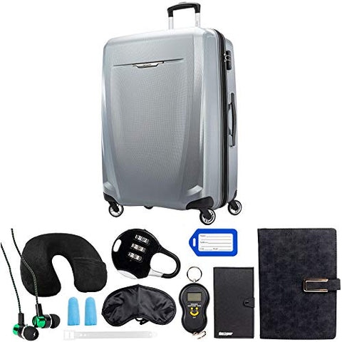 Samsonite Winfield 3 DLX Spinner 78/28 Checked Luggage, Silver (120754-1776) with Deco Gear 10 Piece Luggage Accessory Ultimate Travel Bundle