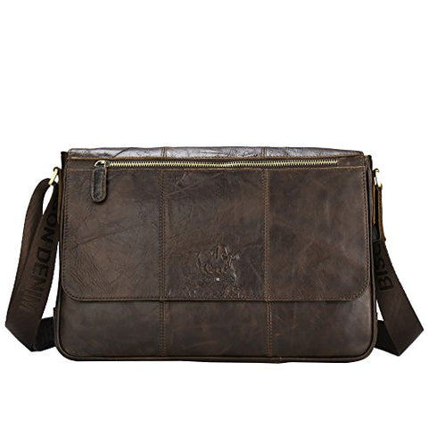 Bison Denim Vintage Genuine Leather Cross Body Messenger Bag Laptop Shoulder Bag Briefcase Brown