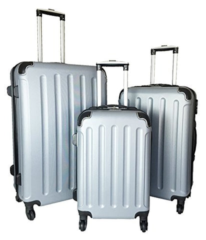 3 Pc Luggage Set Hardside Rolling 4Wheel Spinner Upright Carryon Travel Abs Silver