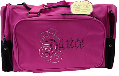 "Sassi Designs Caligraphy Bling Dance 22"" Hot Pink Duffel Bag"