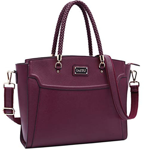 Laptop Tote Bag for Women,13-15.6 Inches Spacious Tablet Handbag Shoulder Bag for Laptop Computer Tablet(Darkpurple-N)