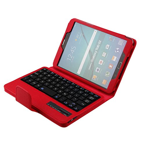 AutumnFall Folio Leather Case+Bluetooth Keyboard for Samsung GALAXY Tab S2 T710 (Red)