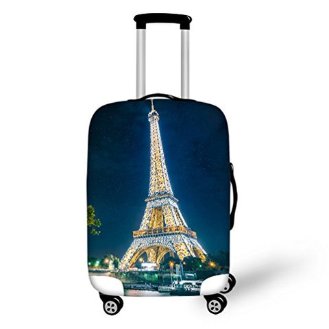 Luggage Cover With Romantic Eiffel Tower Printed Personalised Suitcase Protector