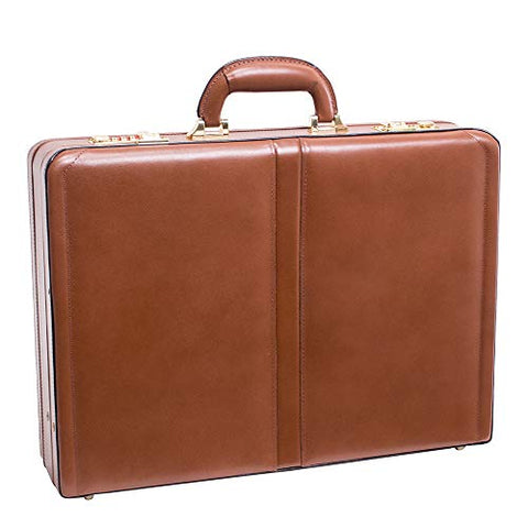 [Personalized Initials Embossing]McKleinUSA Mens HARPER Leather Expandable Attache Case in Brown
