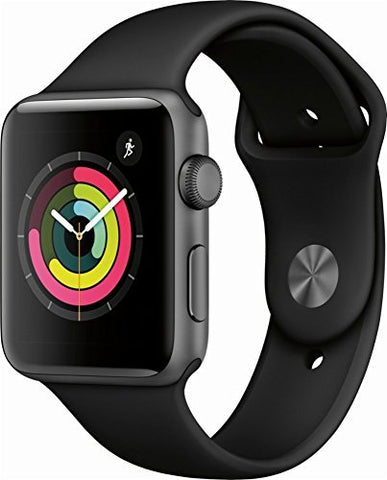 Apple Watch Series 3 (GPS), 42mm Space Gray Aluminum Case with Black Sport Band - MQL12LL/A