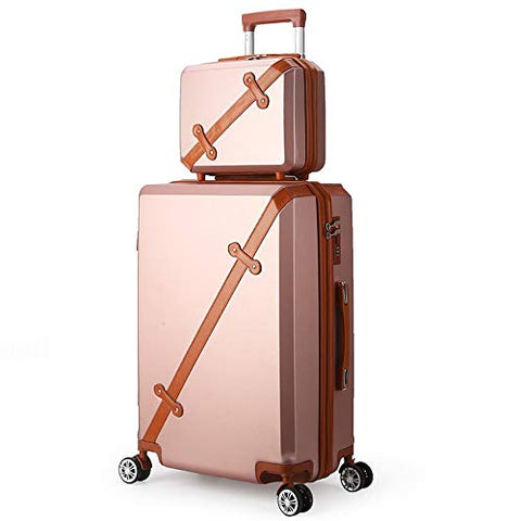 TangFeii-trunk Boarding Luggage Universal 2 Piece Set Spinner Luggage Expandable Travel Suitcase 20in 14in/24in 14in Wheel Upright Carry-on Luggag (Color : Rose Gold, Size : 20in+14in)