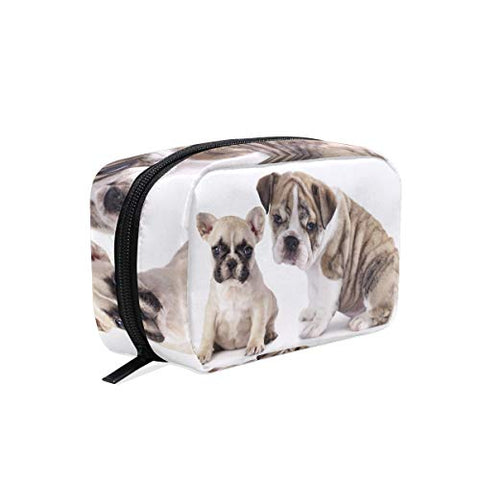 HU MOVR Makeup Organizer Puppies Animal White Puppy Dog Womens Zip Toiletry Bag Large Case Cosmetic