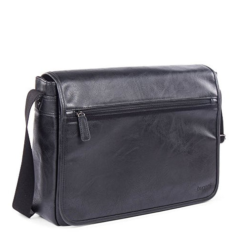 Bugatti Valentino Messenger Bag, Vegan Leather with Canvas Trim, Black