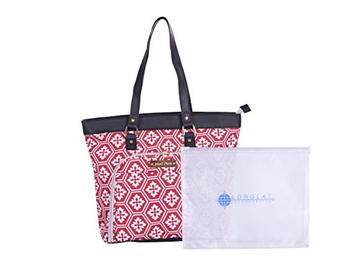 "Jenni Chan Adra 2-Piece Set 18"" Computer Tote + 311 Bag Laptop, Red One Size"