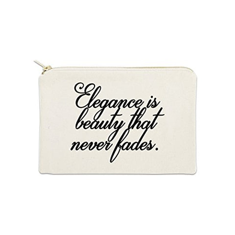 Elegance Is Beauty That Never Fades 12 oz Cosmetic Makeup Cotton Canvas Bag - (Natural Canvas)