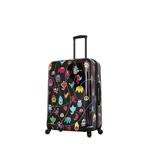 Mia Toro Italy-Mistico Hardside 28 Inch Spinner, Black Patent, Ruby, Black/Red/White